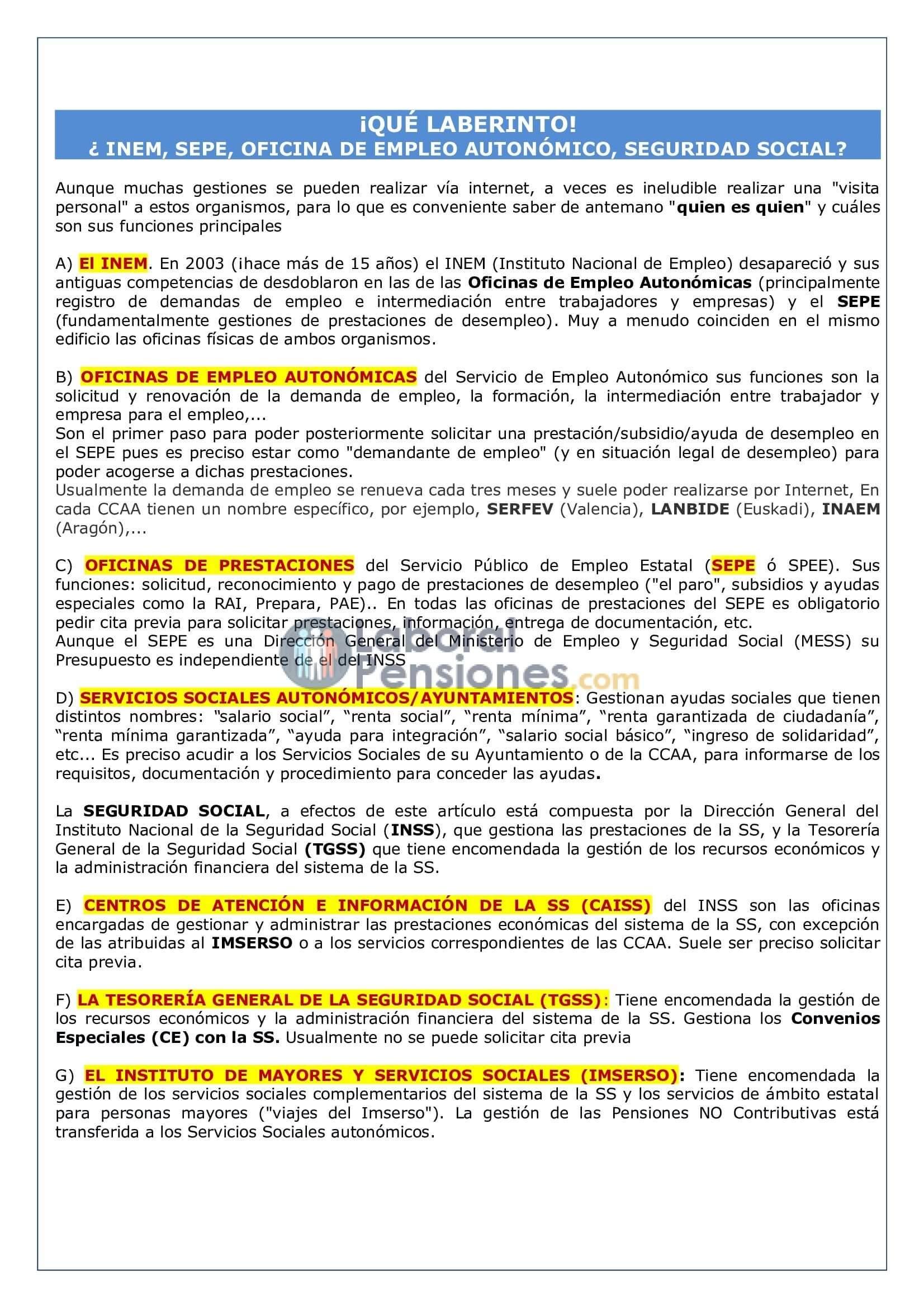 Inem prestaciones por desempleo for Inem horario oficinas