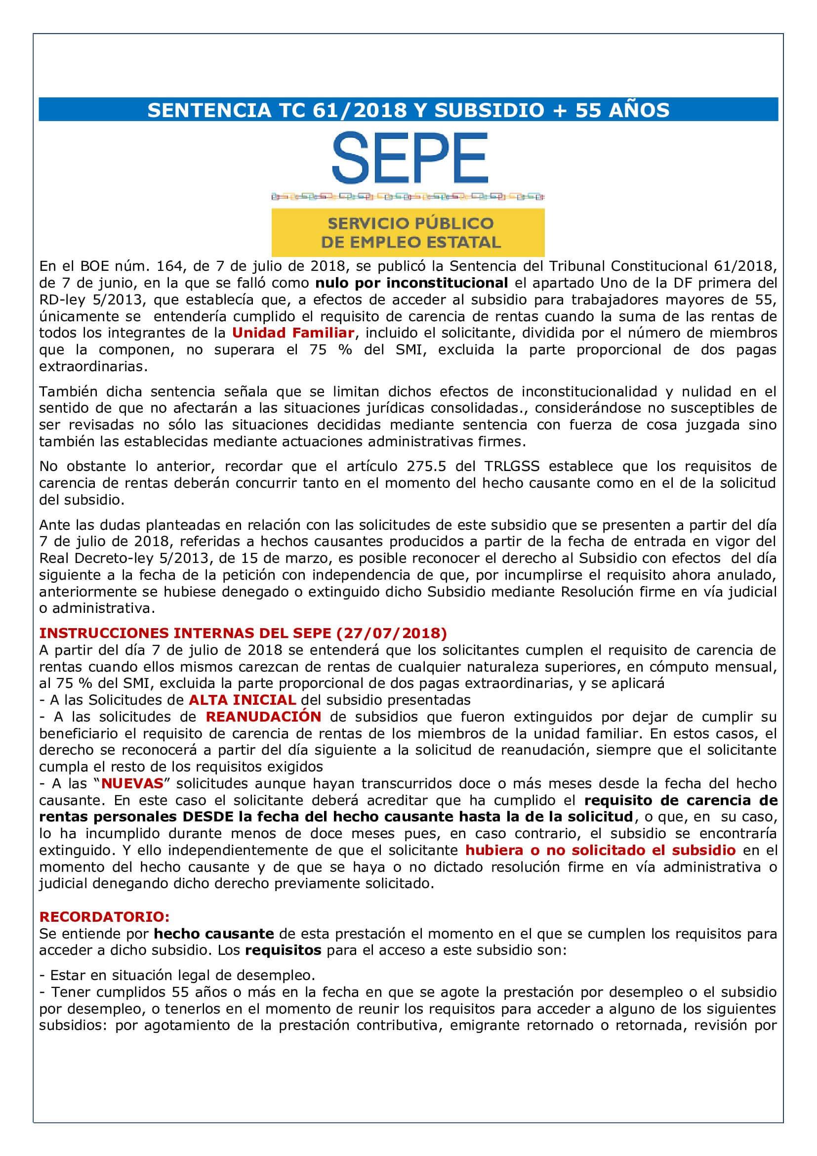 SENTENCIA TC 61/2018 Y SUBSIDIO + 55 AÑOS - Laboral Pensiones
